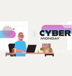 Man sitting at workplace using laptop cyber monday vector