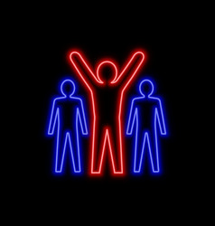 man with hands up neon sign leadership concept vector image