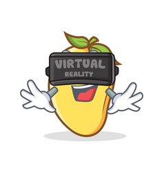 Mango character cartoon mascot with virtual vector