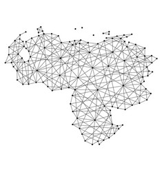 Map of venezuela from polygonal black lines vector