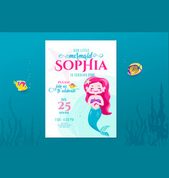 mermaid birthday cute invite card design for vector image