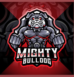 mighty bulldog esport mascot logo design vector image