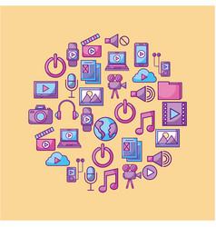 Multimedia social media network application icon vector