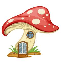 Mushroom house with door and window vector