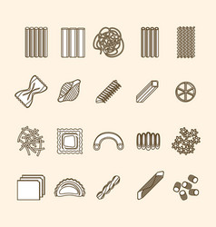 pasta thin line icons set vector image