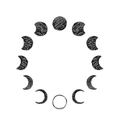 Phase moon scribble icon set lunar phase vector