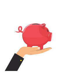 piggy bank in hand save money concept vector image