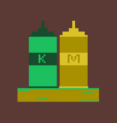 pixel icon in flat style ketchup and mustard vector image