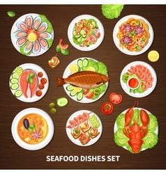Poster With Seafood Dishes Set vector