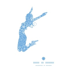 Purple lace flowers jumping girl silhouette vector
