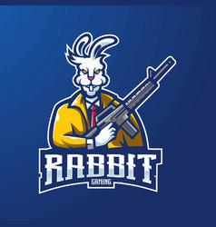 rabbit gaming logo vector image