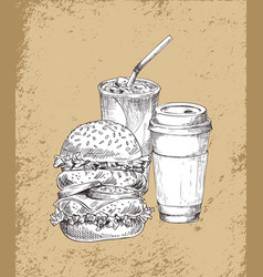 refreshing drinks and big burger vector image