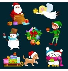 Santa Claus sack full of giftsangel wings magic vector