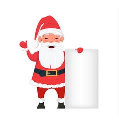 Santa standing near blank placard vector