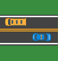 School bus and airport car moving on asphalt road vector
