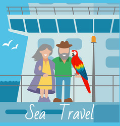 sea travel banner couple of vector image