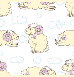 Seamless pattern background with sheep vector