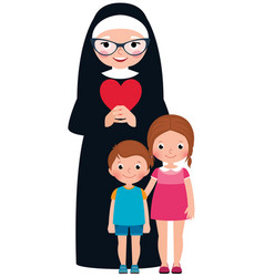 Senior nun and children girl and boy vector