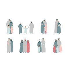 set different muslim families arabian parents vector image