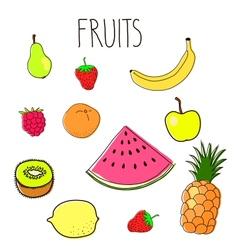 Set fruit doodles vector