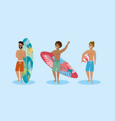 set men wearing bathing shorts with surfboard vector image