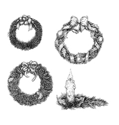 Set of Christmas design elements Hand draw ink vector image