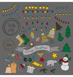 set of Christmas doodles vector image