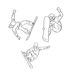 set of freeride snowboarder rolls on a snow vector image