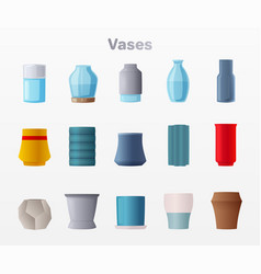 set of vases cartoon vector image