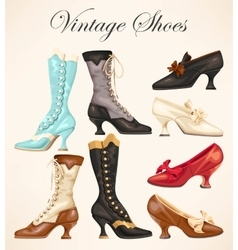 Set of vintage shoes vector image