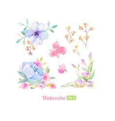 Set of watercolor floral elements for decoration vector