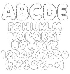 shaggy alphabet letters numbers and signs vector image