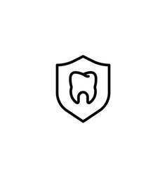 shield protection dental oral icon in black vector image
