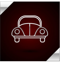 Silver line car volkswagen beetle icon isolated on vector