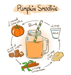 Sketch Pimpkin smoothie recipe vector image