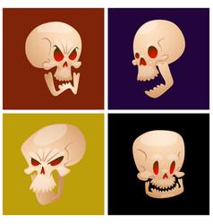 skull bones human face halloween cards horror vector image