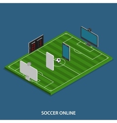 Soccer Online Isometric Concept vector image