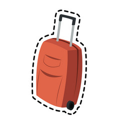 suitcase with wheels luggage icon image vector image