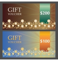 Two Voucher templates with bronze premium pattern vector image
