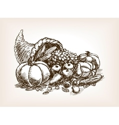 Vegetables harvest sketch style vector