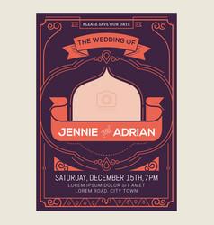 vintage art deco wedding invitation card vector image