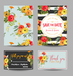 Vintage summer flowers wedding invitation rsvp vector