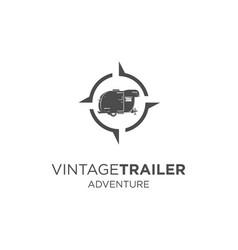 vintage trailer adventure logo vector image