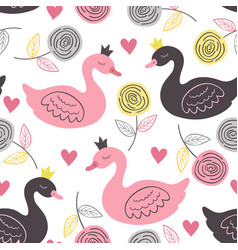 White seamless pattern with rose and princess swan vector