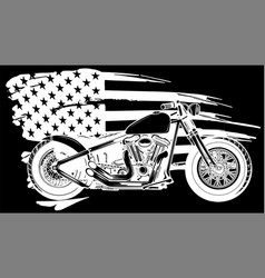 White silhouette chopper motorcycle with vector