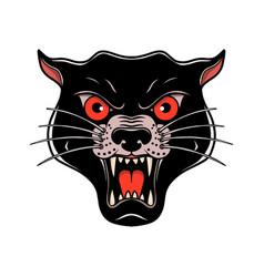 Wild cat head in old school tattoo style design vector