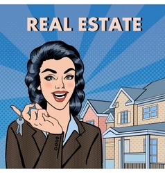 Woman real estate agent pop art vector