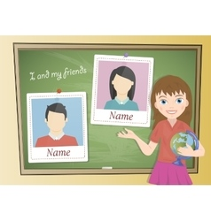 Yearbook about schoolgirl and chalkboard vector