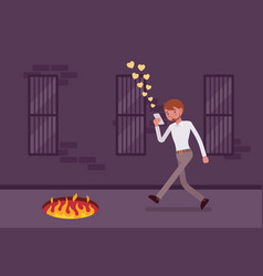 Young carefree man walking with phone fire pit in vector