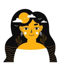 young woman cartoon portrait and clouds sun vector image